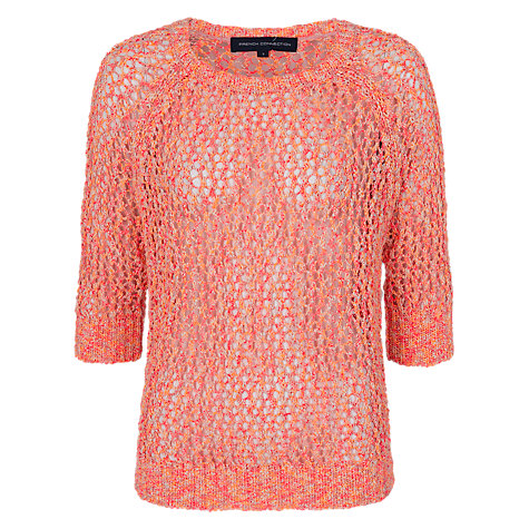 Buy French Connection Neon Knitted Raglan Jumper, Fluro Online at johnlewis.com