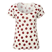 Buy White Stuff Pacific Spot Print T-Shirt, Dark Rouge Online at johnlewis.com