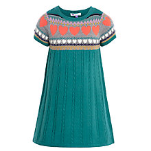 Buy John Lewis Girl Knit Heart Patterned Dress, Green Online at johnlewis.com