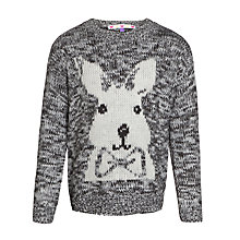 Buy John Lewis Girl Rabbit Intarsia Knit Jumper, Grey Online at johnlewis.com