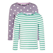 Buy John Lewis Girl Stripe & Polka Dot Long Sleeved T-Shirts, Pack of 2, Purple/Green Online at johnlewis.com