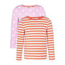 Buy John Lewis Girl Stripe & Polka Dot Long Sleeved T-Shirts, Pack of 2, Pink/Orange Online at johnlewis.com