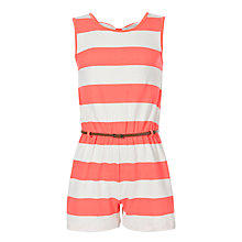 Buy Loved & Found Girls' Striped Jersey Playsuit, Salmon Online at johnlewis.com