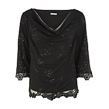 Buy Jacques Vert Beaded Mesh Top, Black Online at johnlewis.com