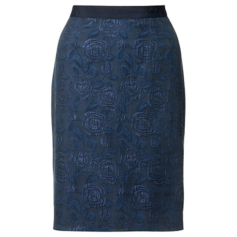 Buy Jigsaw Floral Jacquard Pencil Skirt, Navy Online at johnlewis.com