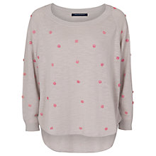 Buy French Connection Flower Embroidered Jumper, Beige Online at johnlewis.com