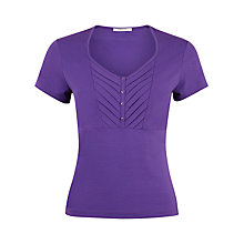 Buy Precis Petite Button Detail Jersey Top, Purple Online at johnlewis.com