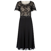 Buy Jacques Vert Organza Flower Chiffon Dress, Black Online at johnlewis.com