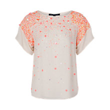 Buy French Connection Sweet Mix Sequin Top, Winter White Online at johnlewis.com