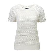 Buy Viyella Ella Lace Jersey Top, Ivory Online at johnlewis.com