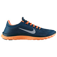 Buy Nike Men's Free 3.0 Running Shoes, Blue/Orange Online at johnlewis.com