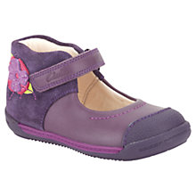 Buy Clarks Soft Rose Applique Shoes, Purple Online at johnlewis.com