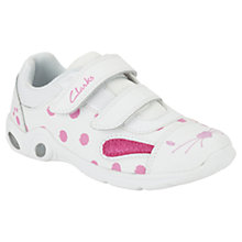 Buy Clarks Mitzy Jive Pre Rabbit Trainers, White/Pink Online at johnlewis.com