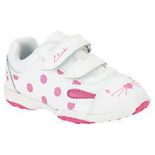 Buy Clarks Giggle Jive Trainers, White/Pink Online at johnlewis.com