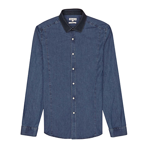 Buy Reiss Bronx Contrast Collar Chambray Long Sleeve Shirt, Indigo Online at johnlewis.com