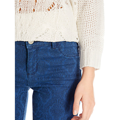Buy Oasis Jacquard Crop Jeans, Navy Online at johnlewis.com