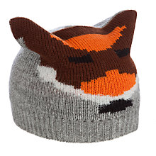 Buy John Lewis Boy Fox Beanie, Grey/Brown Online at johnlewis.com