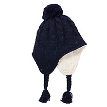 Buy John Lewis Children's Flecked Trapper Hat, Navy Online at johnlewis.com