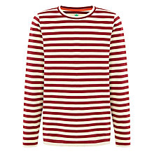 Buy John Lewis Boy Stripe Long Sleeve Polo Shirt, Red/Cream Online at johnlewis.com