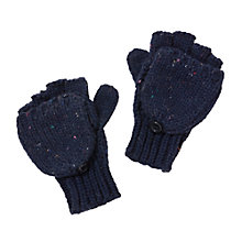 Buy John Lewis Children's Flecked Flip Top Gloves, Navy Online at johnlewis.com