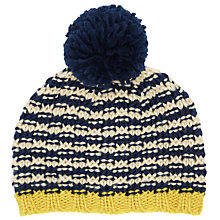 Buy John Lewis Boy Textured Beanie With Pom Pom, Blue/Cream Online at johnlewis.com