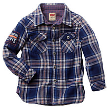 Buy Levi's Boys' Check Flannel Shirt, Blue Online at johnlewis.com