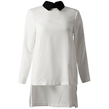 Buy Closet Drop Hem Collar-detail Top, Black/White Online at johnlewis.com