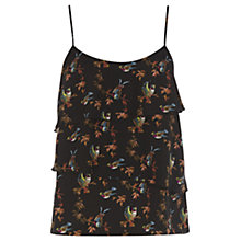 Buy Oasis Bird Print Tier Camisole, Multi Black Online at johnlewis.com