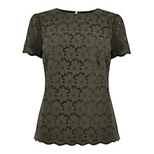 Buy Oasis Broderie Front T-shirt Online at johnlewis.com