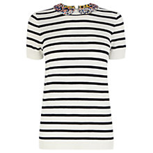 Buy Oasis Ditsy Collar Stripe Jumper, Off White Online at johnlewis.com