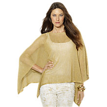 Buy Lauren Ralph Lauren Pointelle-Knit Metallic Poncho, Gold Online at johnlewis.com