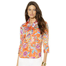 Buy Lauren Ralph Lauren Floral Cotton Sateen Top, Cayenne Online at johnlewis.com