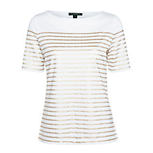 Buy Lauren Ralph Lauren Striped Cotton Top, White/Gold Online at johnlewis.com