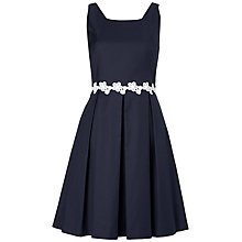 Buy Jaeger Embroidered Waist Dress, Navy Online at johnlewis.com
