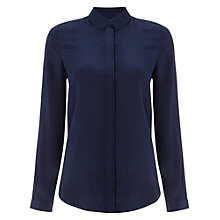 Buy Jaeger Box Pleat Silk Blouse, Navy Online at johnlewis.com