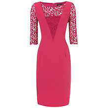 Buy Jaeger Lace Crepe Dress, Raspberry Online at johnlewis.com