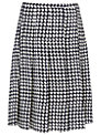 Jaeger Silk Dogtooth Skirt, Ivory / Navy