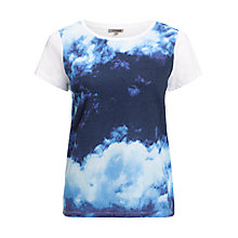 Buy Jigsaw Cloud Print Top, Light Blue Online at johnlewis.com