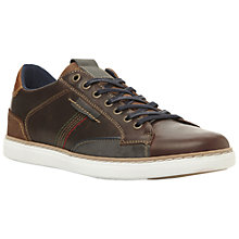 Buy Dune Tailored Contrast Stitch Trainers, Dark Brown Online at johnlewis.com