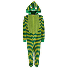 Buy John Lewis Stripe Dinosaur Fleece Onesie, Green Online at johnlewis.com