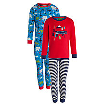 Buy John Lewis Boy Animal Pyjamas, Pack of 2, Blue/Red Online at johnlewis.com