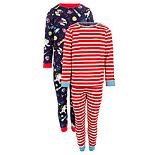 Buy John Lewis Boy Space & Stripe Print Pyjamas, Pack of 2, Red/Blue Online at johnlewis.com