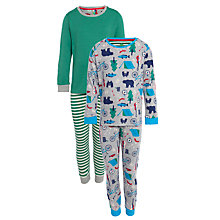 Buy John Lewis Boy Bear Camping Pyjamas, Pack of 2, Green/Grey Online at johnlewis.com