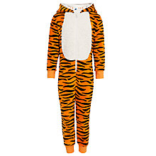 Buy John Lewis Boy Fleece Tiger Onesie, Orange/Black Online at johnlewis.com