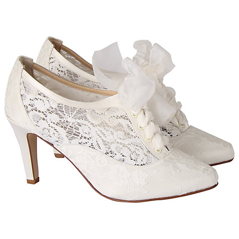 Buy Hassall for Rainbow Heartbeat Lace Up Court Heels, Ivory Online at johnlewis.com
