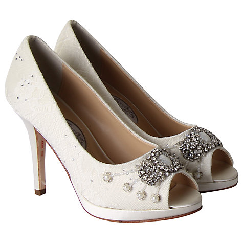 Buy Hassall for Rainbow Devotion Leather Peep Toe Court Heels, Ivory Online at johnlewis.com
