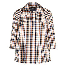 Buy Aquascutum Club Check Raglan A-Line Jacket, Brown Online at johnlewis.com