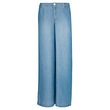 Buy Mango Tencel Palazzo Trousers, Medium Blue Online at johnlewis.com