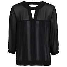 Buy French Connection Sun Spells Pleated Top, Black Online at johnlewis.com