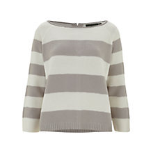 Buy Mint Velvet Stripe Knit Jumper, Ivory & Pearl Online at johnlewis.com